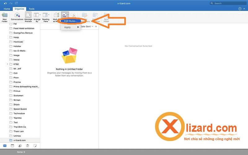 tạo Rules cho mail Outlook trên Macbook